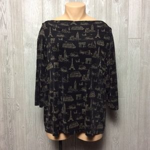 Slinky Knit Top with European Prints PLUS SIZE